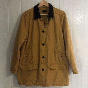 Lands End Barn Field Coat L Gold Corduroy Collar L
